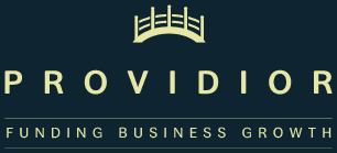 Providior Logo With Tagline - yellow on blue